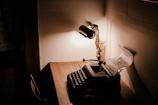 luz - máquina de escribir - flexo - papel - escribir
